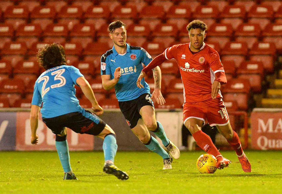 Tyler Roberts in action for Walsall.