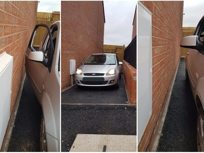 Couple buy house but 'can't get out of car' on narrow driveway