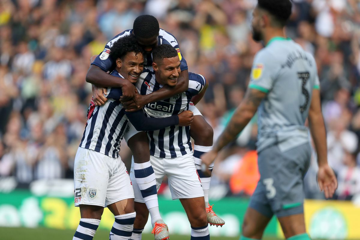 Jake Livermore of West Bromwich Albion celebrates after scoring a goal to make it 2-1 with Matheus Pereira of West Bromwich Albion and Nathan Ferguson of West Bromwich Albion. (AMA)