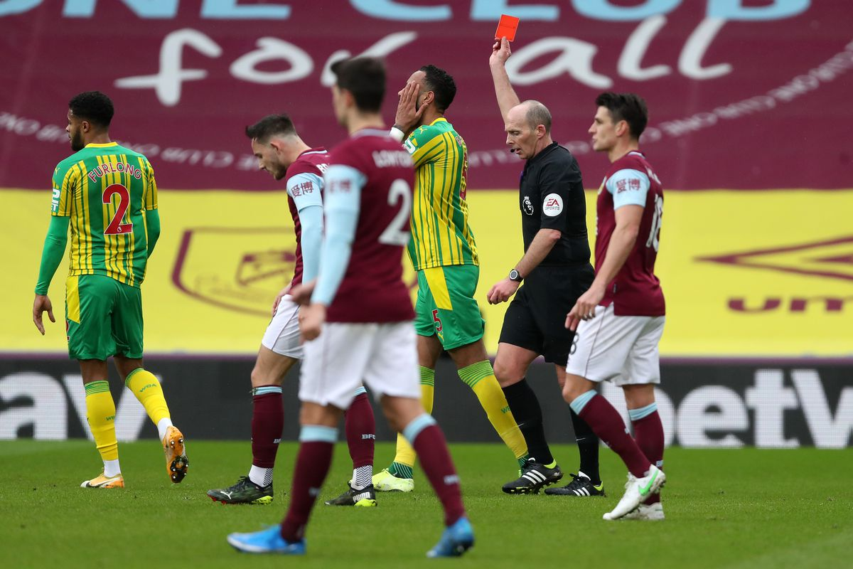 Kyle Bartley of West Bromwich Albion reacts after referee Mike Dean shows a red card to Semi Ajayi of West Bromwich Albion (not pictured) following a VAR check. (AMA)