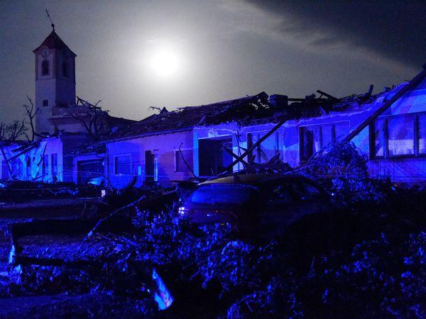 Houses are damaged after a tornado hit the village of Moravska Nova Ves in the Hodonin district, South Moravia, Czech Republic