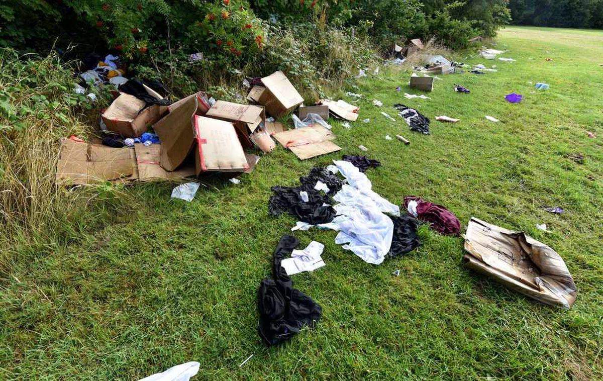 Rubbish left by travellers in a field off Kitchen Lane