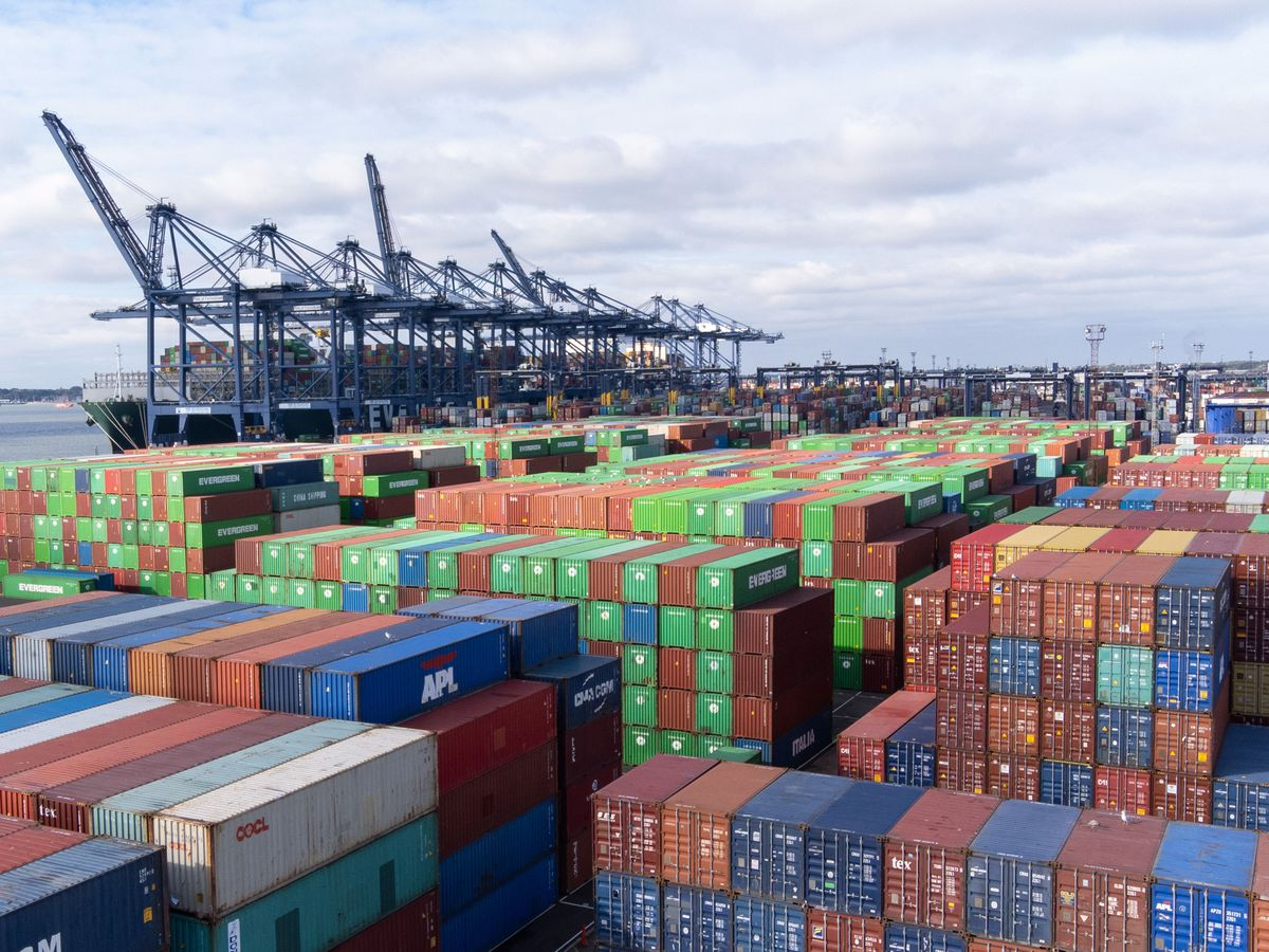 Thousands of shipping containers at the Port of Felixstowe