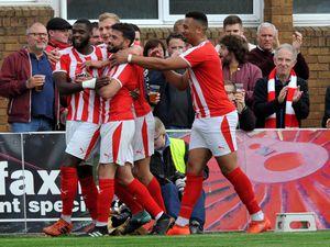 SPORT   ALAN FOGARASY COPYRIGHT EXPRESS & STAR  05/10/19.STOURBRIDGE V STAFFORD RANGERS  . FA Cup 3rd qualifying round.   For Stourbridge number 3 Jordaan Brown (left) celebrating his goal.
