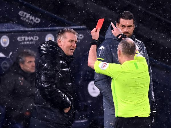File photo dated 20-01-2021 of Aston Villa manager Dean Smith being shown a red card by Referee Jonathan Moss. Issue date: Thursday January 21, 2021. PA Photo. Aston Villa manager Dean Smith has been charged by the Football Association after allegedly using abusive and/or insulting language towards a match official during Wednesday   s Premier League match at Manchester City, the FA has announced. See PA Story SOCCER Disciplinary. Photo credit should read: Shaun Botterill/PA Wire