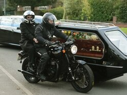 Widow rides pillion on way to speedway photographer's funeral
