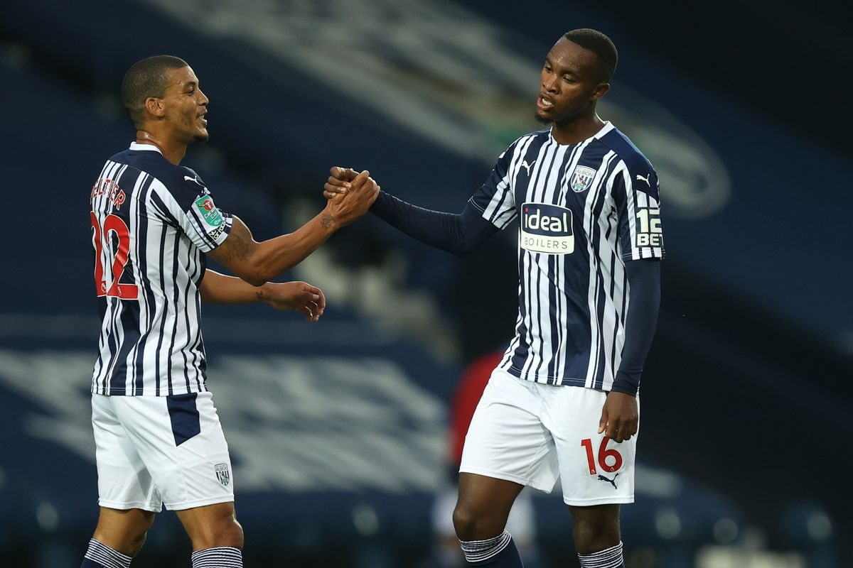 Rekeem Harper of West Bromwich Albion celebrates after scoring a goal to make it 1-0 with Lee Peltier (AMA)