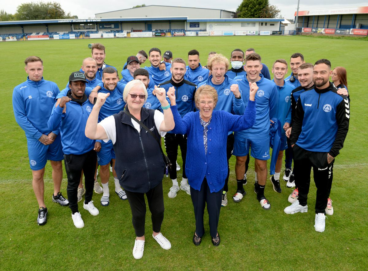 Long-time fans Sheila Bradley and Jackie Brookes cheer on Halesowen Town FC as they get set for their FA Trophy semi-final