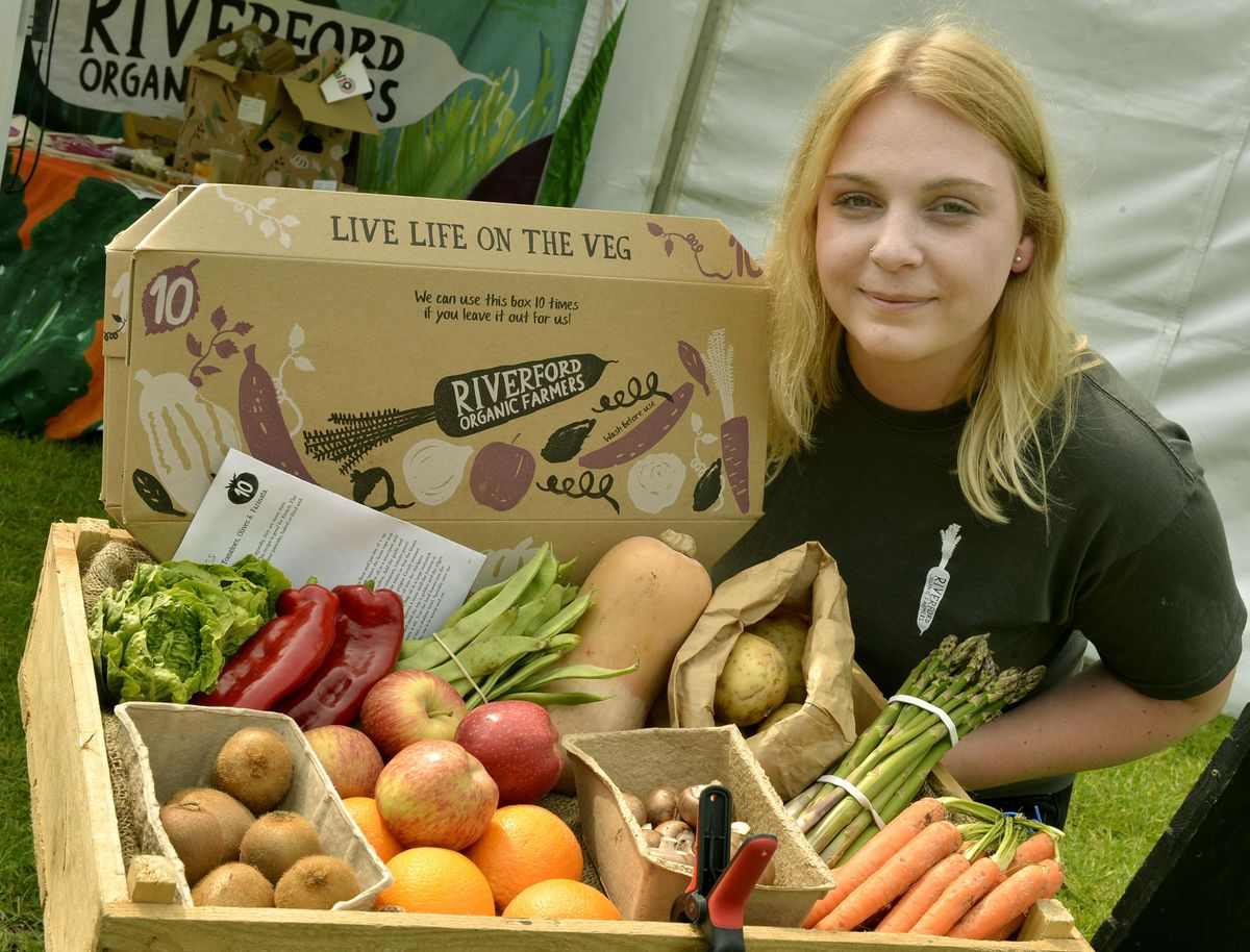 Lauren Gibbons from Riverford Organic Farmers in Peterborough with their range of organic fruit and veg at the Great British Food Festival at Weston Park