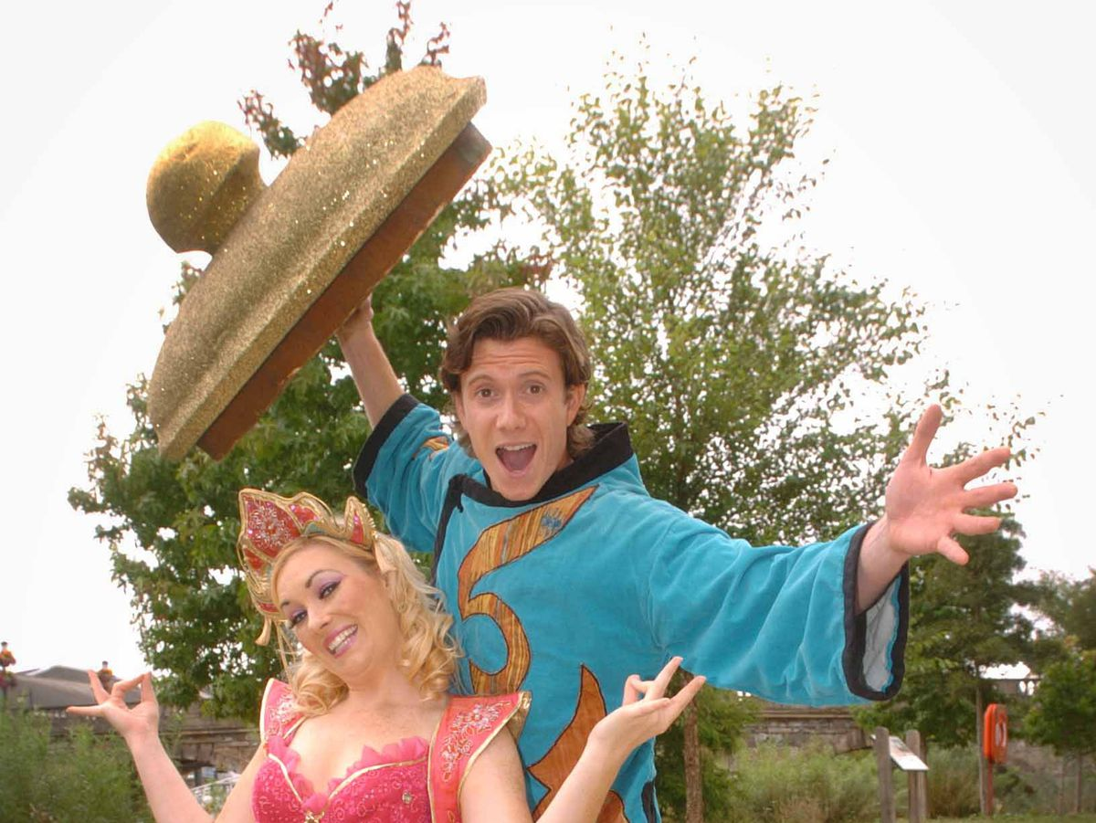 SAME DAY Aladin is this years Panto at Severn Theatre, Kirk Barker plays Aladin with Genie of the lamp Anna Westford. PIC PETER SHAH