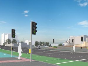 Proposed view across A34 Birchfield Road to One Stop Shopping Centre – the A34 flyover has been removed and a new junction is proposed with a controlled crossing across the A34.