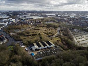 An aerial photo of the site in Fountain Lane, Oldbury, which is set to be transformed with more than 230 new homes