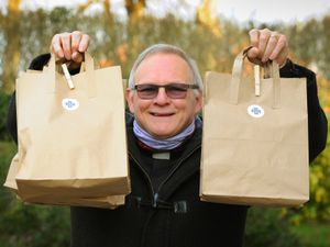 With some of the Lent goodie bags being sent out to parishioners, Father Tim Williams, at Kidderminster
