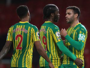A dejected Hal Robson-Kanu of West Bromwich Albion reacts with Romaine Sawyers of West Bromwich Albion at the final whistle. (AMA)