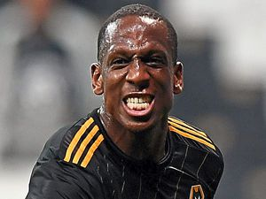Willy Boly of Wolverhampton Wanderers celebrates after scoring a goal to make it 0-1.