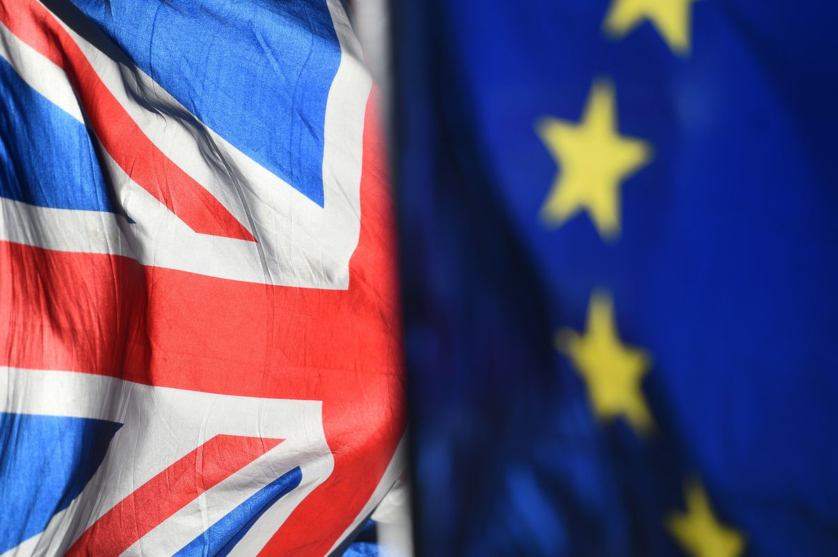 File photo dated 28/01/19 of an Union Jack and European Union flags flown outside the Houses of Parliament