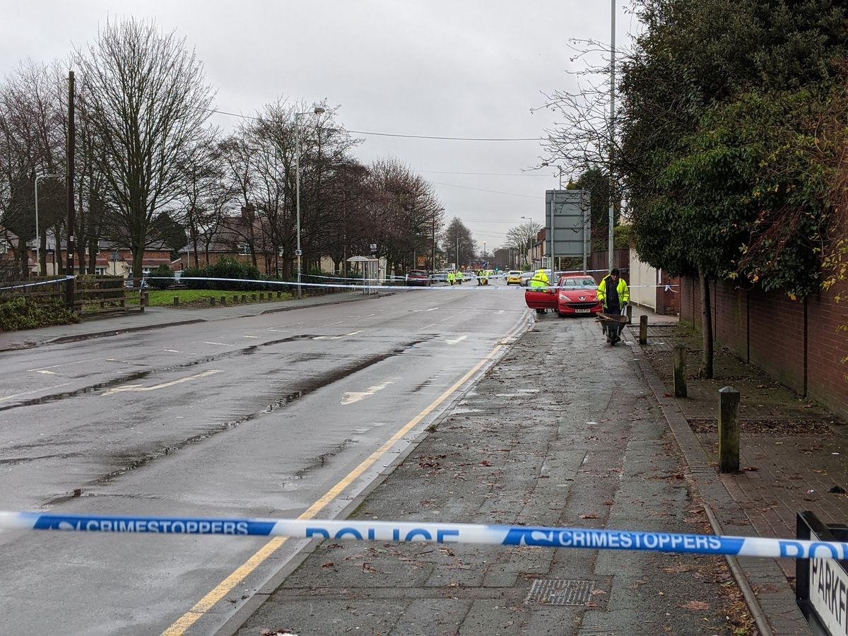 The police cordon on Parkfield Road