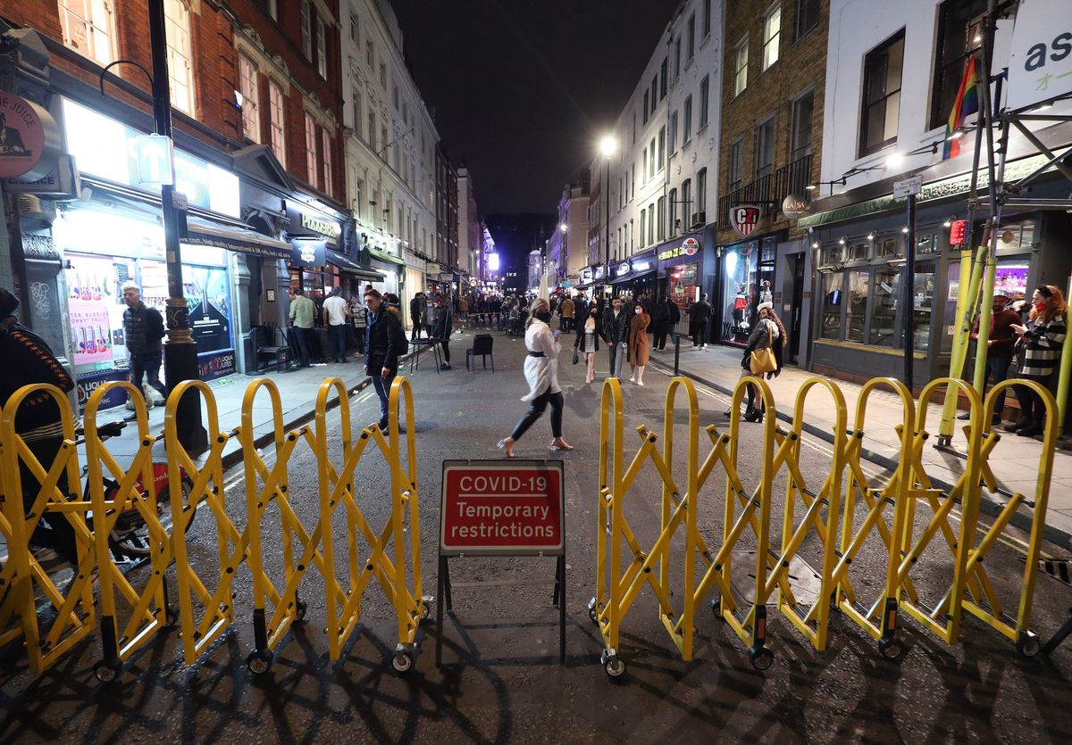 Old Compton Street in Soho, London, after pubs and restaurants were subject to a 10pm curfew to combat the rise in coronavirus cases