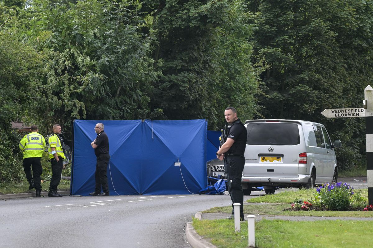 Police at the scene of the crash on Sunday. Photo: SnapperSK
