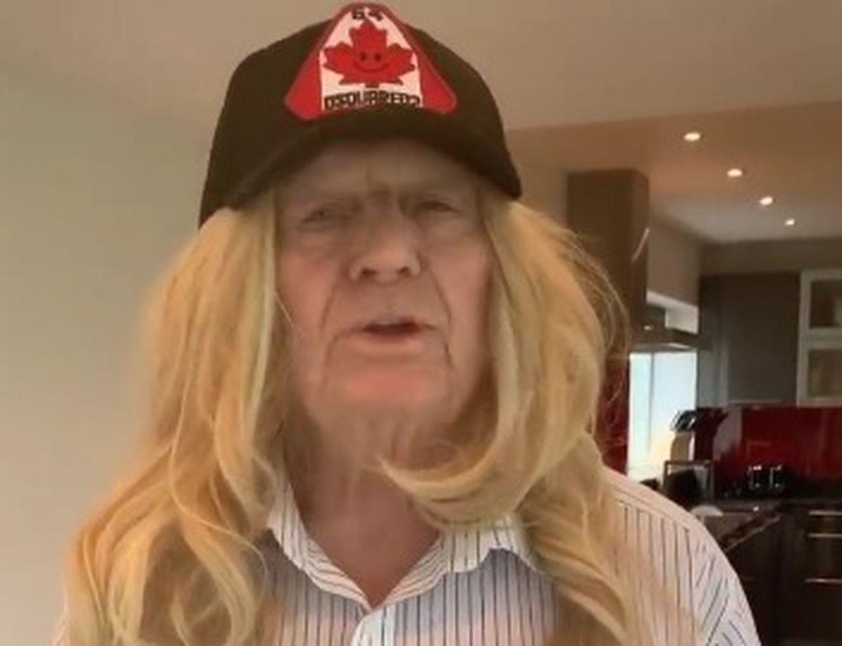 Grandad Joe dressed in a wig for a video