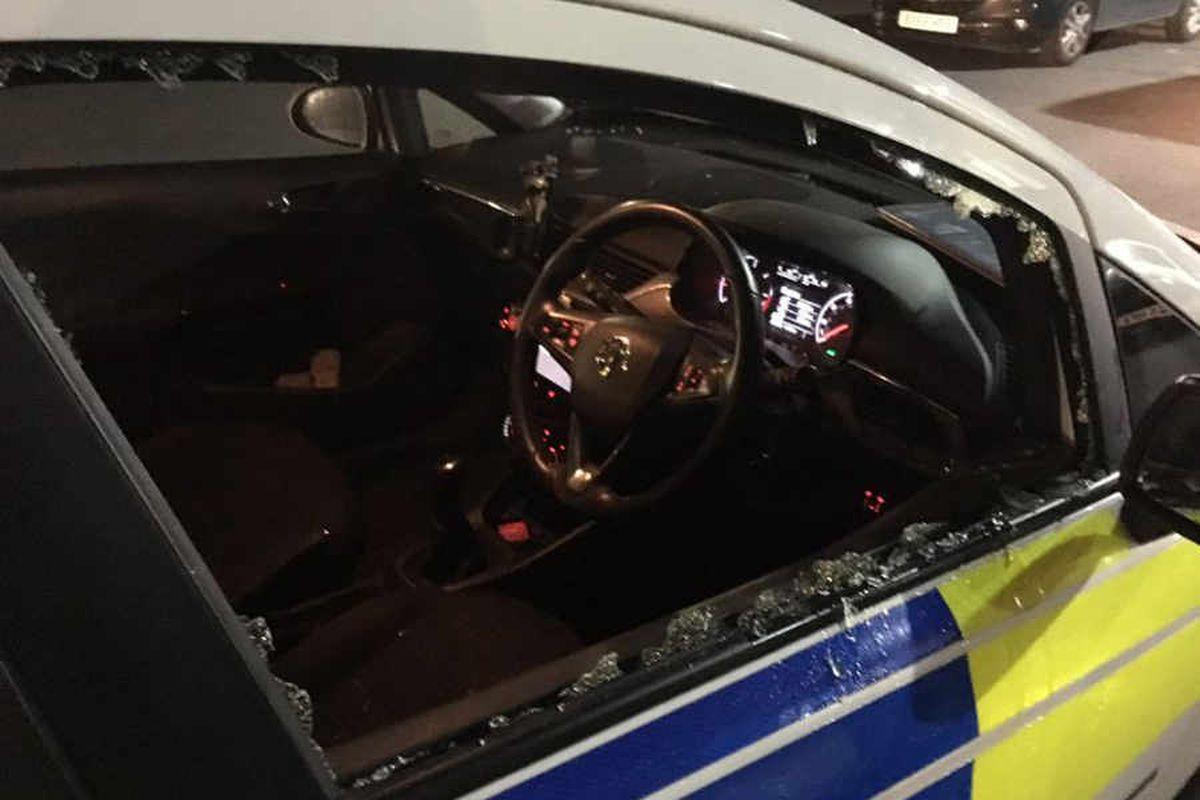 West Midlands Police car vandalised by thugs