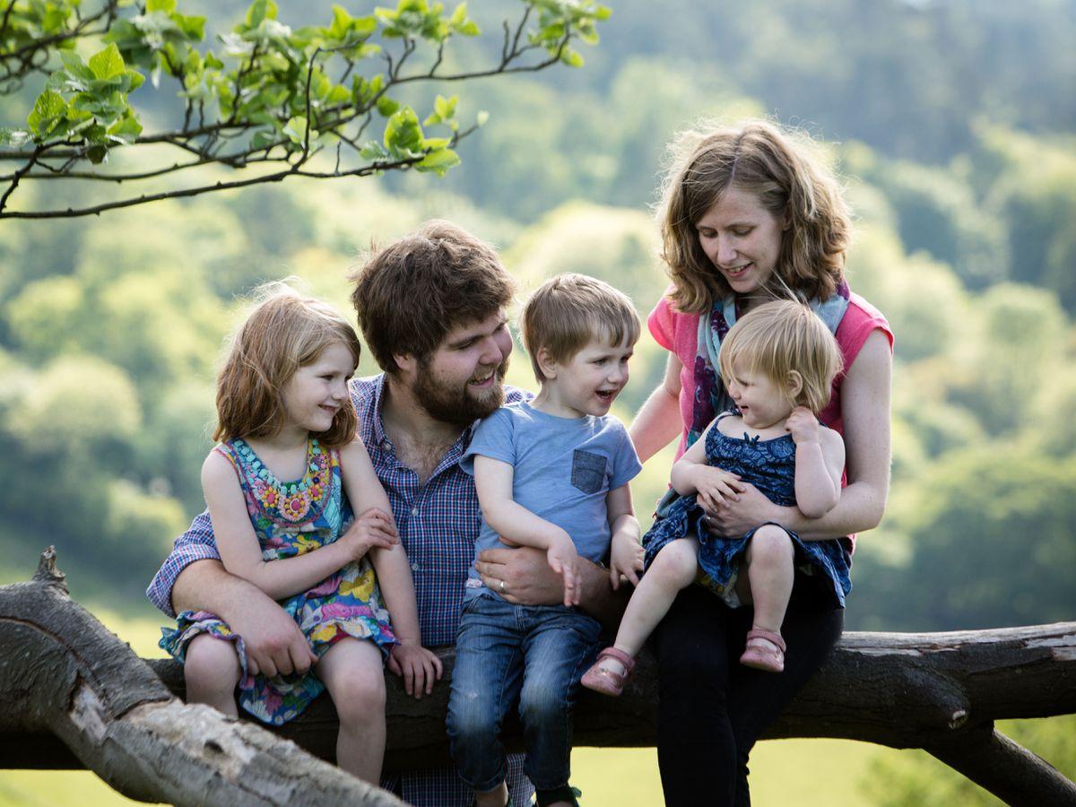 Zoe Powell and husband Josh with children Phoebe, Simeon and Amelia (Sarah Mak Photography)