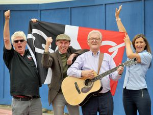 Keith Horsfall from Black Country Radio, musicians Billy Spakemon and Tom Stanton, and Vicky Rogers from Halesowen BID