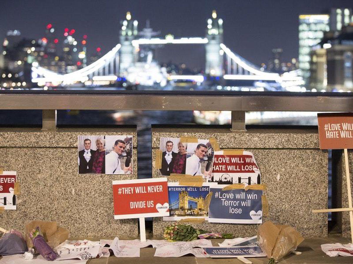Tributes left at the scene on London Bridge