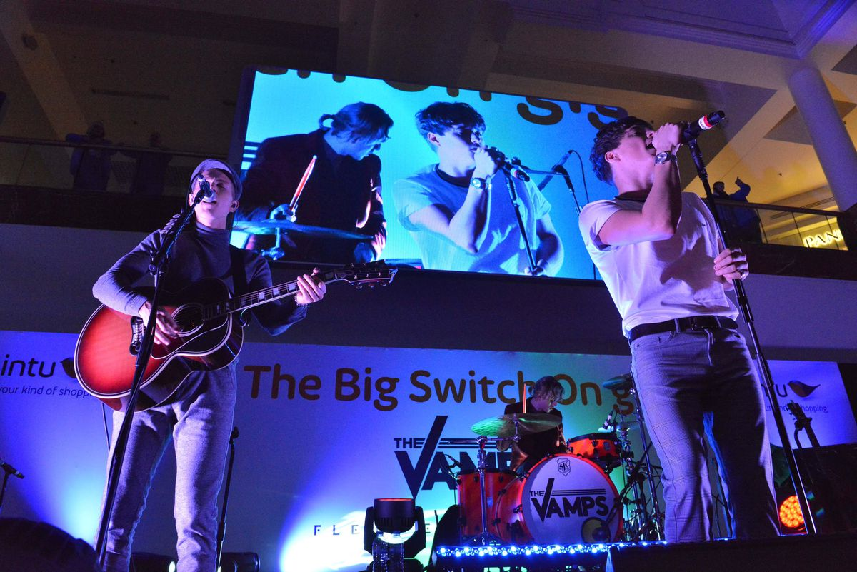 The Vamps at Merry Hill Christmas lights switch-on in 2017