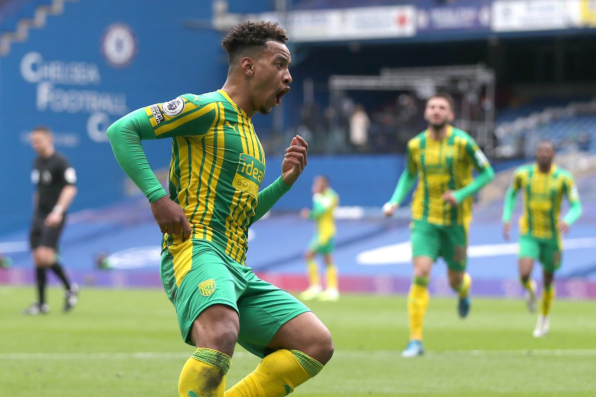 Matheus Pereira of West Bromwich Albion puts his fingers in his ears as he celebrates after scores a goal to make it 1-2.